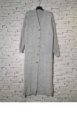 Long cardigan with large buttoned knit