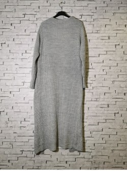 Long mesh cardigan, and front pocket