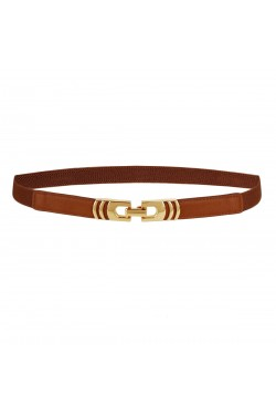 Fine elastic belt for women with gold alloy buckle