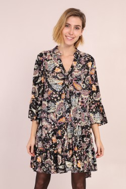 Dress chemise tunique  printed fleuri with LUREX