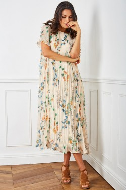 Dress long et vaporeuse with doublure et printed fleuri