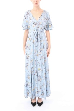 Dress long  printed flower boutonnée devant