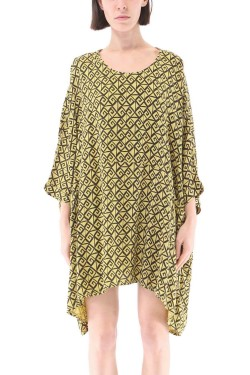 Extra large geometric-print tunic with 2 pockets