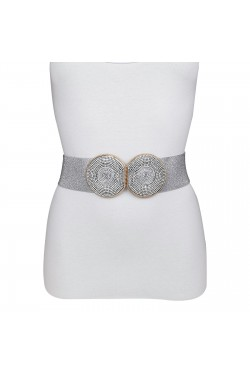 Wide elastic woman's belt with double round rhinestone buckle