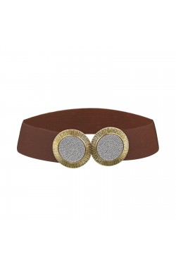 Wide elastic women's belt with large double golden buckle and rhinestones