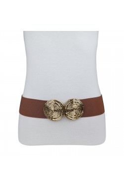 Wide elastic woman's belt with double golden buckle in spiral shape