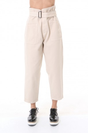 Trouser height-waisted  cotton