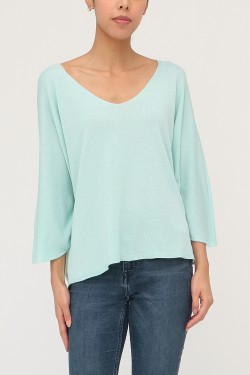 Pull maille fine doux col v