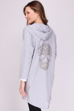 Sweat ouvert with tête de mort  strass