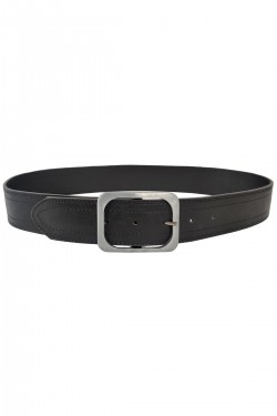 Wide woman's belt with rectangular buckle faux leather