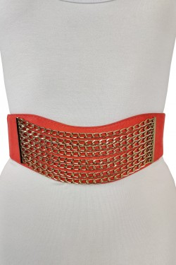 Wide woman's belt with golden chain