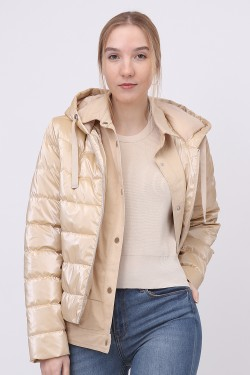 Padded jacket with double fermeture