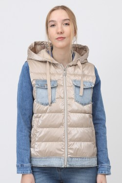 Padded jacket sans sleeves with jeans