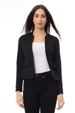 Jacket col montant with fausse poche