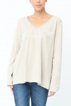 T-shirt washed-out sleeves longs  cotton