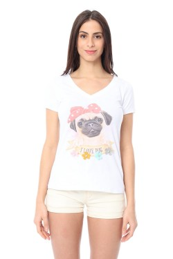 T-shirt col  v printed chi with accessoire  relief cotton