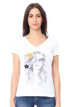 T-shirt col  v printed femme with accessoire  relief cotton