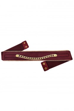 Wide elastic woman's belt with chain