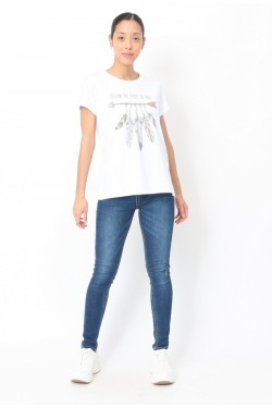 T-shirt with plumes printeds