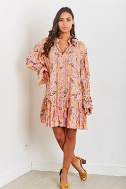 Dress tunique mi-long with pompons  printed bohemian with LUREX