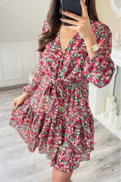 Dress  mi-long with printed bohemian  fleurs