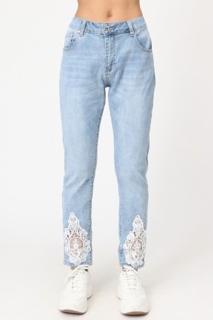 Jean with lace et strass