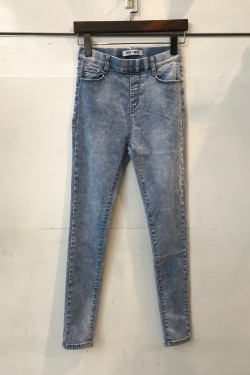 Faded skinny jeans with elastic waist