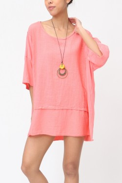 Bi-material cotton tshirt with necklace