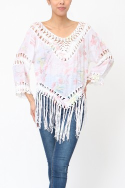 Blouse printed with crochet