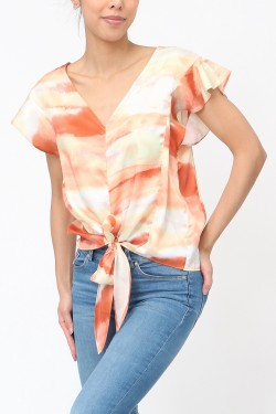 Blouse tie and dye satiné