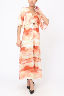 Dress long tie and dye satiné