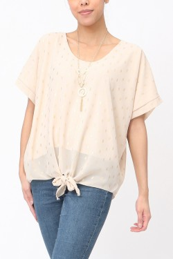Blouse printed with noeud