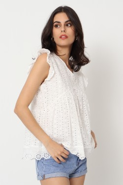 BLOUSE BOHEME BRODE ET PERFORE
