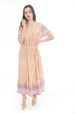 Dress long  printed bohemian with sleeves shorts et col V