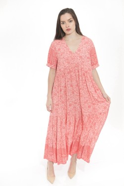 Dress long  printed bohemian with sleeves shorts et v-necked