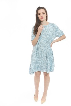Dress tunique mi-long  printed bohemian with sleeves shorts