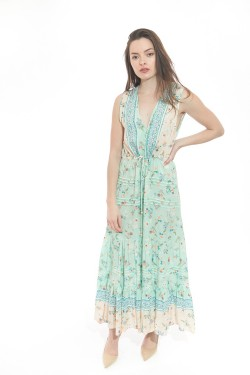 Dress long  printed fleuri boutonnée devant et col V