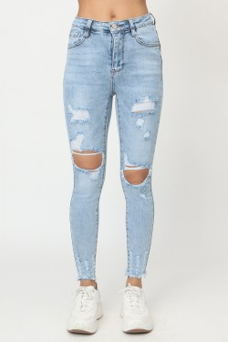 Jeans skinny height-waisted ripped  cotton