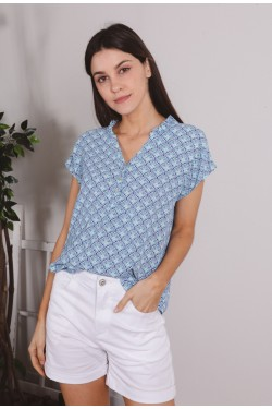 Blouse printed with col boutonné