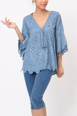 Top  embroidery anglaise  cotton