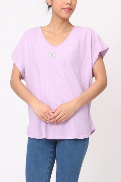 Tshirt oversize with étoile  strass  cotton