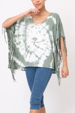 Top oversize tie&dye with franges  cotton