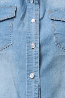 Shirt jean sans sleeves with détail strass