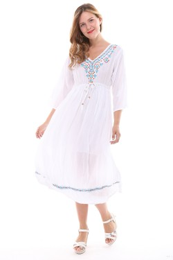Women's long dress sleeve Petal embroidery collar Cotton Caftan summer style Melissa 4166