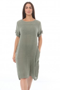 Dress midi  lin with embroidery