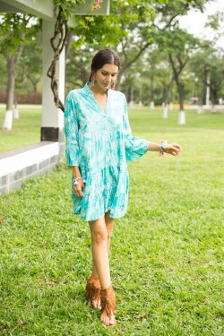 Dress chemise tunique with col V,  printed with LUREX