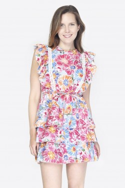 Short floral pleating embroidery backless dress camille prfdn