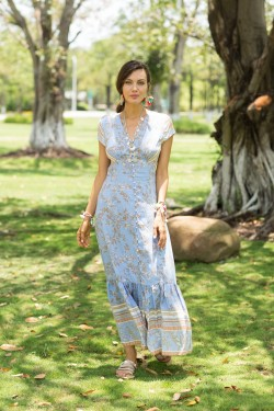 Dress long boutonnée  printed with v-necked et sleeveron, with fte