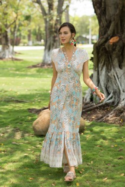 Dress long boutonnée  printed with col V et sleeveron, with fte