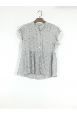 Top oversize uni  embroidery anglaise